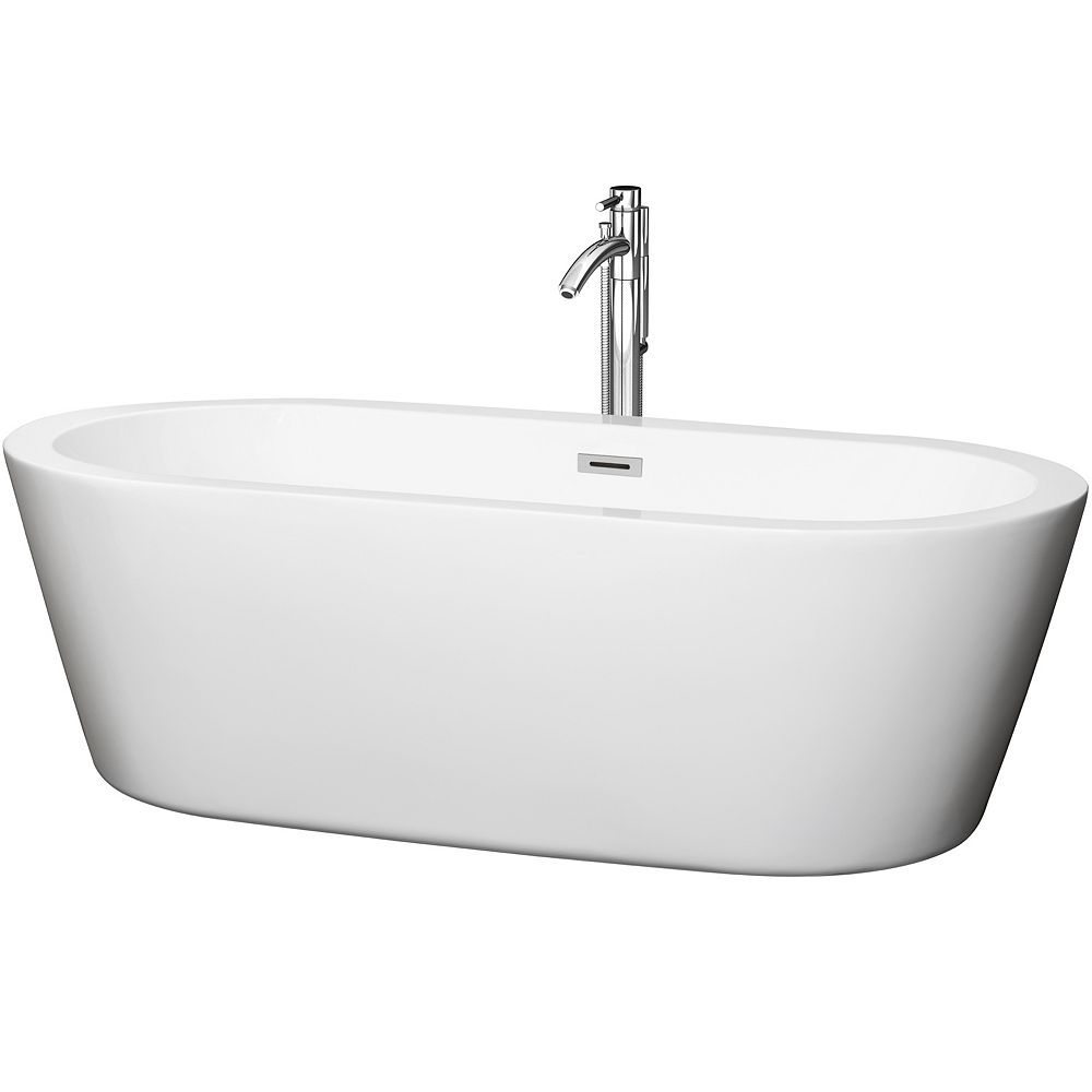 Wyndham Collection Mermaid 5 Feet 11-Inch Soaker Bathtub with Centre Drain and Floor Mounted Faucet in Chrome