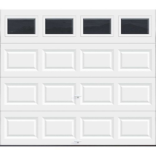 Value Series 8 ft. x 7 ft. Non-Insulated White Garage Door with Plain Windows