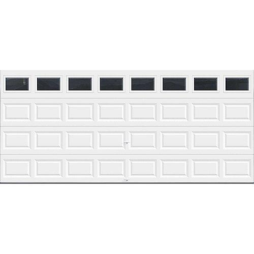 Porte de garage Série Valeur 16pi x 7pi non-isolée Blanche avec fenêtres unies