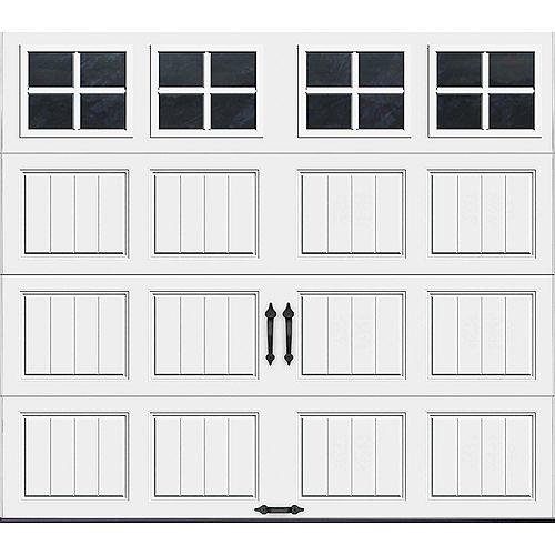 Clopay Porte de garage Collection Gallery 8pi x 7pi Valeur R 18.4 isolée en ployuréthane Intellicore Blanche Fenêtres SQ22