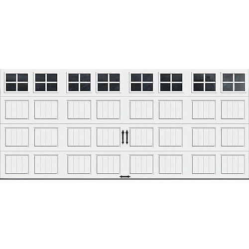 Porte de garage Collection Gallery 16pi x 7pi Valeur R 18.4 isolée en ployuréthane Intellicore Blanche Fenêtres SQ22