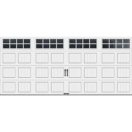 Porte de garage Collection Gallery 16pi x 7pi Valeur R 18.4 isolée en ployuréthane Intellicore Blanche Fenêtres SQ24