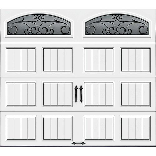 Porte de garage Collection Gallery 8pi x 7pi R 18.4 isolée en ployuréthane Intellicore Blanche Fenêtres Fer Forgé
