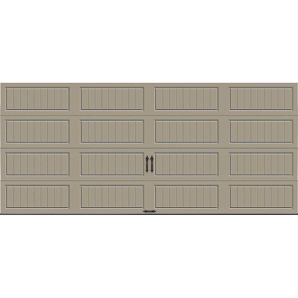 Clopay Porte de garage Collection Gallery 16pi x 7pi Valeur R 18.4 isolée en ployuréthane Intellicore sable
