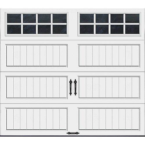 Porte de garage Collection Gallery 8pi x 7pi Valeur R 18.4 isolée en ployuréthane Intellicore Blanche Fenêtres SQ24