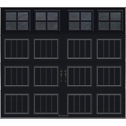 Clopay Porte de garage Collection Gallery 8 pi x 7 pi Valeur R 18.4 isolée en ployuréthane Intellicore Blanche Fenêtres SQ22