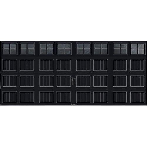 Porte de garage Collection Gallery 16 pi x 7 pi Valeur R 18.4 isolée en ployuréthane Intellicore Blanche Fenêtres SQ22