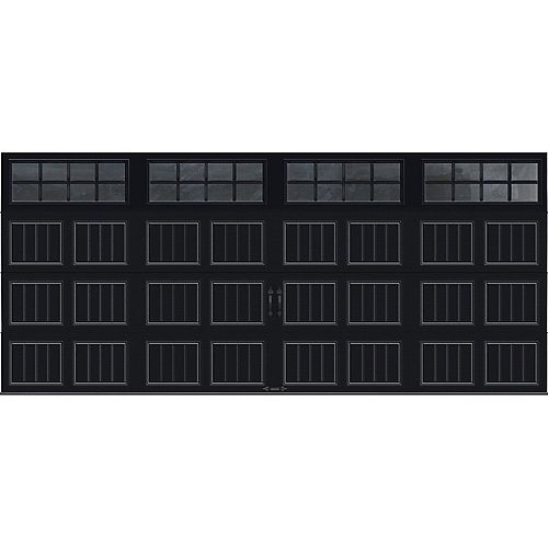 Porte de garage Collection Gallery 16 pi x 7 pi Valeur R 18.4 isolée en ployuréthane Intellicore Blanche Fenêtres SQ24