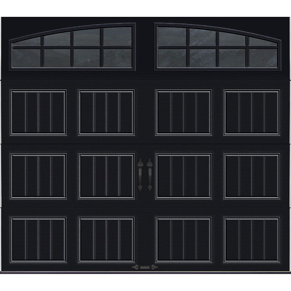 Clopay Gallery Collection 8 ft. x 7 ft. Intellicore Insulated Black Garage Door with Arch Window