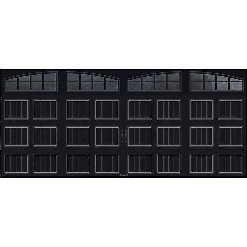 Porte de garage Collection Gallery 16 pi x 7 pi Valeur R 18.4 isolée en ployuréthane Intellicore Blanche Fenêtres Arch