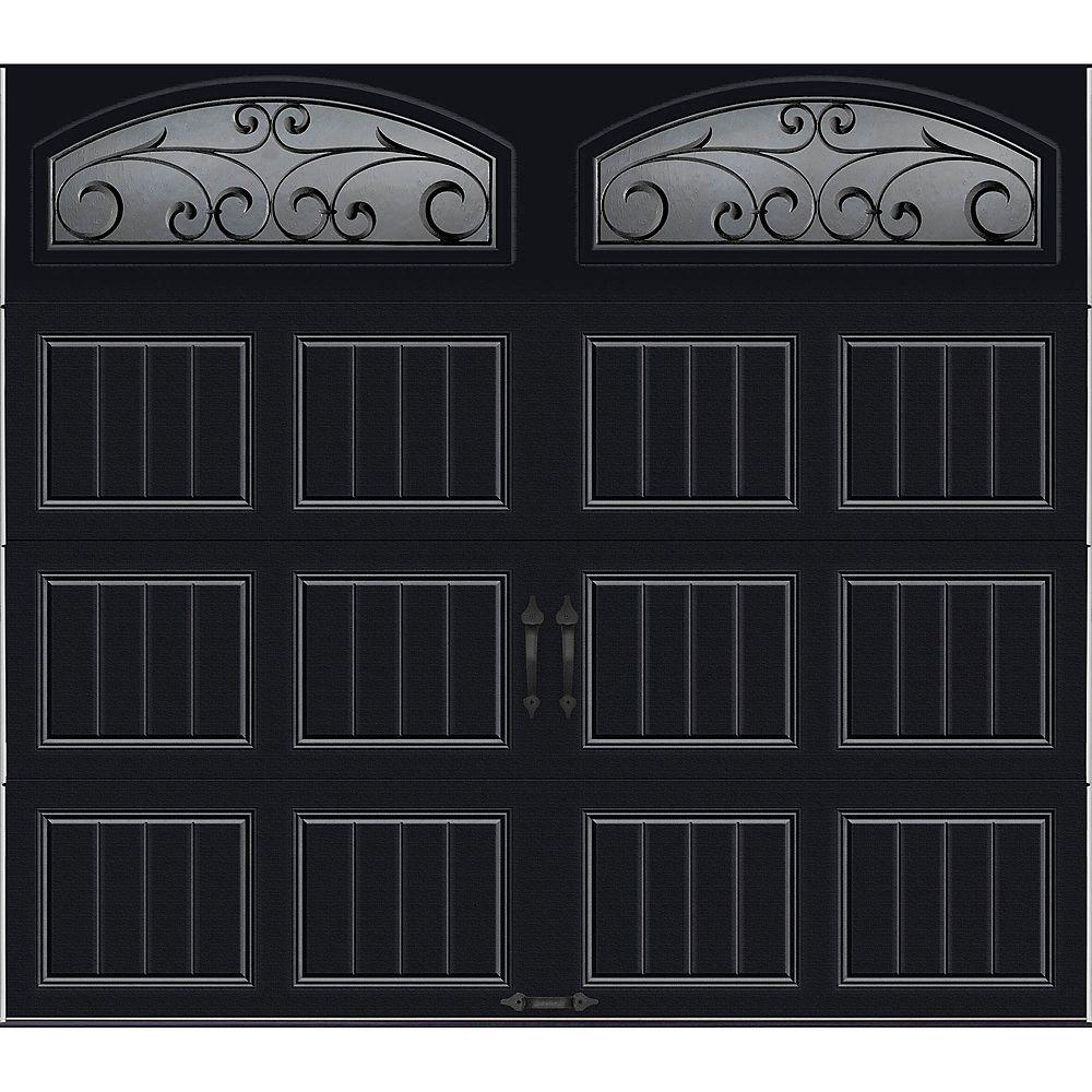 Clopay Porte de garage Collection Gallery 8 pi x 7 pi R 18.4 isolée en ployuréthane Intellicore Blanche Fenêtres Fer Forgé