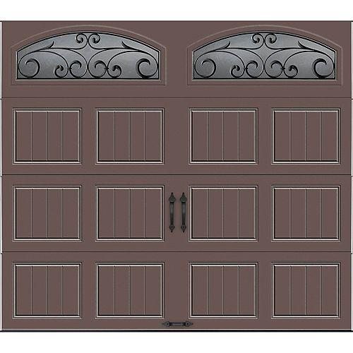 Porte de garage Collection Gallery 8 pi x 7 pi R 18.4 isolée en ployuréthane Intellicore Sable Fenêtres Fer Forgé