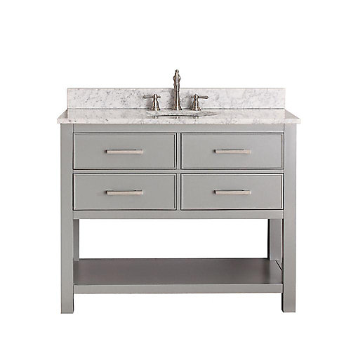 Brooks 43-inch W 2-Drawer Freestanding Vanity in Grey With Marble Top in White