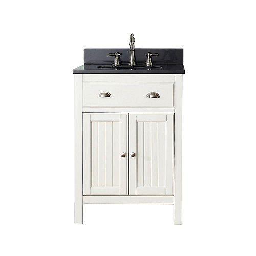 Hamilton 25-inch W 2-Door Freestanding Vanity in White With Granite Top in Black