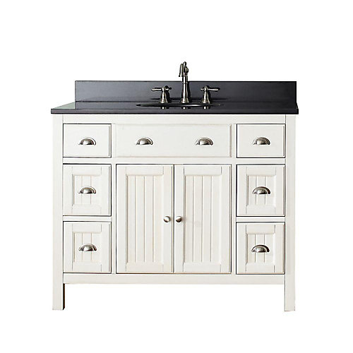 Hamilton 43-inch W 6-Drawer 2-Door Freestanding Vanity in White With Granite Top in Black
