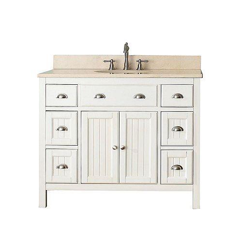 Hamilton 43-inch W 6-Drawer 2-Door Freestanding Vanity in White With Marble Top in Beige Tan