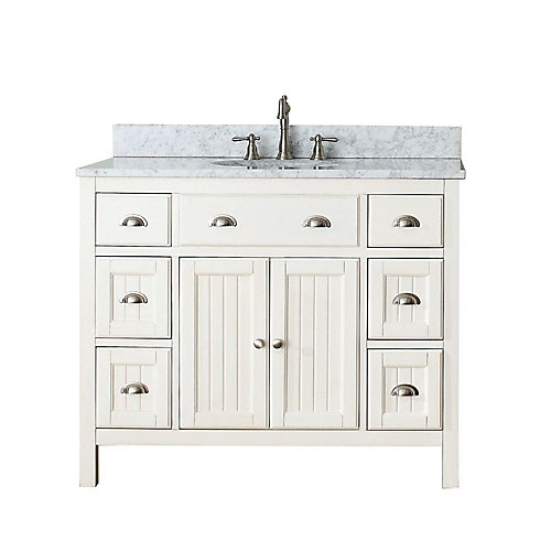 Hamilton 43-inch W 6-Drawer 2-Door Freestanding Vanity in White With Marble Top in White