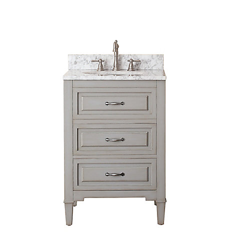 Kelly 25-inch W 2-Drawer Freestanding Vanity in Grey With Marble Top in White
