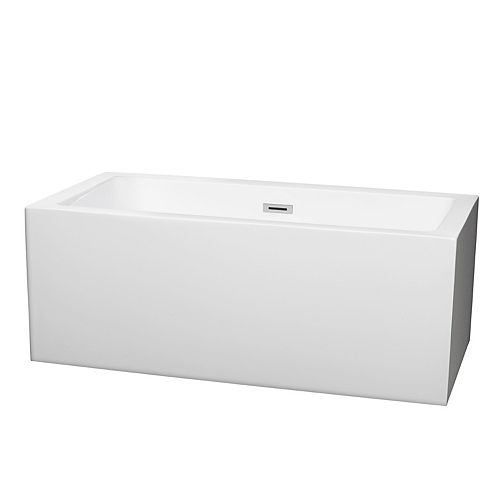 Melody 59.5-inch Acrylic Flat-Bottom Centre Drain Soaking Tub in White