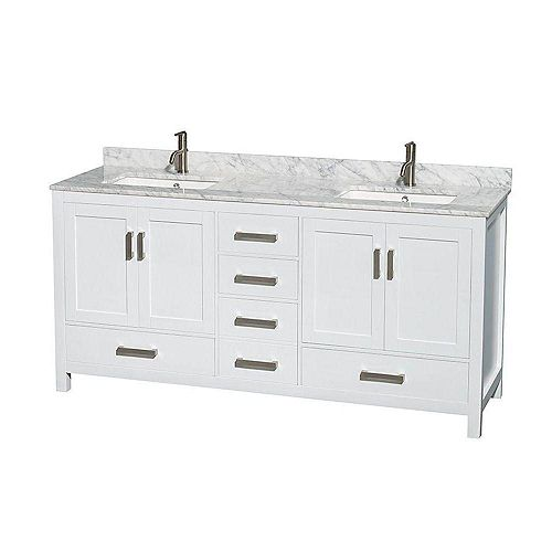 Sheffield 72-inch W Double Vanity in White with Marble Top in Carrara White