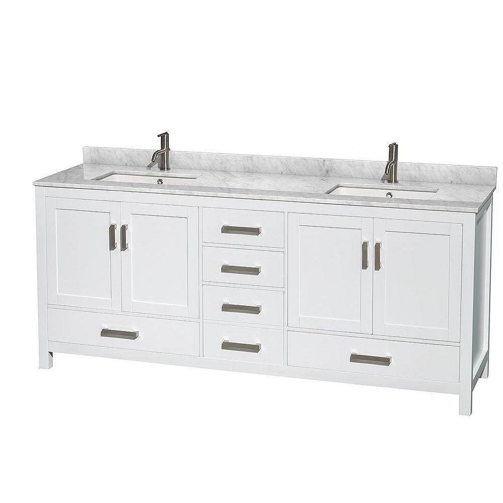 Sheffield 20 inch W Double Vanity in White with Marble Top in Carrara White