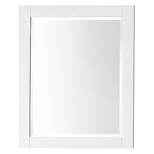 Transitional 32-inch L x 24-inch W Framed Wall Mirror in White