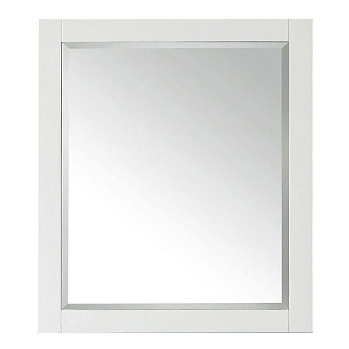 Transitional 32-inch L x 28-inch W Framed Wall Mirror in White