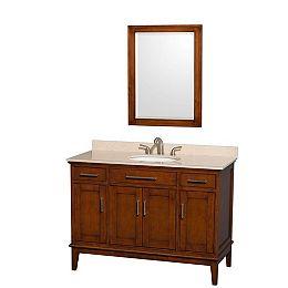 Hatton 48-inch W 2-Drawer 4-Door Vanity in Brown With Marble Top in Beige Tan With Mirror