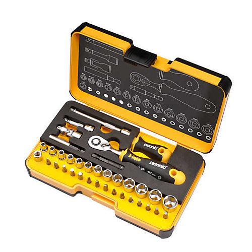 R-GO 1/4 in. 36-Piece Ergonic Ratchet - Stubby - Multi-Tools set Metric