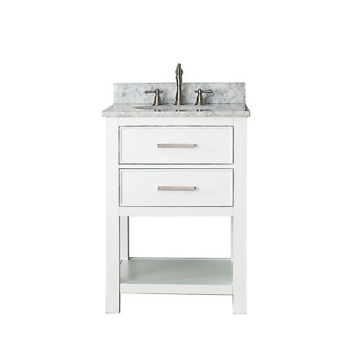 Brooks 25-inch W 1-Drawer Freestanding Vanity in White With Marble Top in White