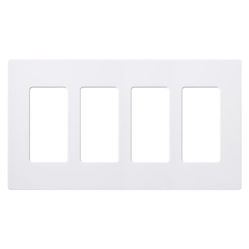 Claro 4-Gang Wall plate, White