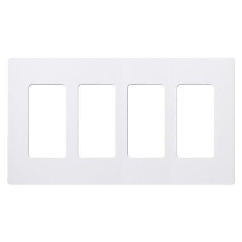 Claro 4 Gang Decorator/Rocker Wallplate, Gloss, White (1-Pack)