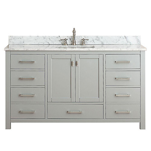 Modero 61-inch W Freestanding Vanity in Grey With Marble Top in White