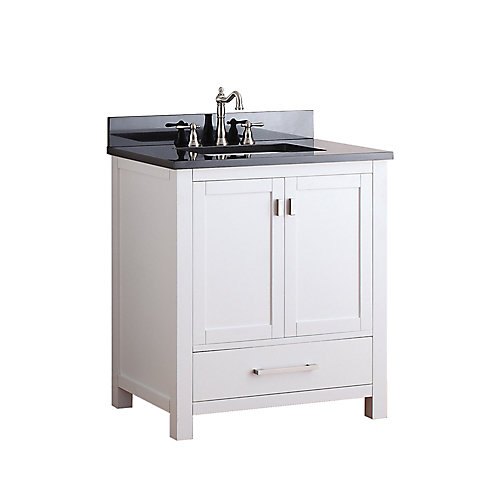 Modero 31-inch W Freestanding Vanity in White With Granite Top in Black