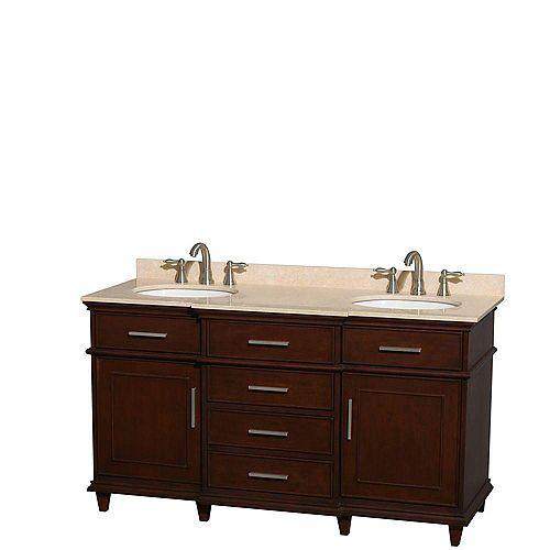 Berkeley 60-inch W 4-Drawer 2-Door Vanity in Brown With Marble Top in Beige Tan, Double Basins