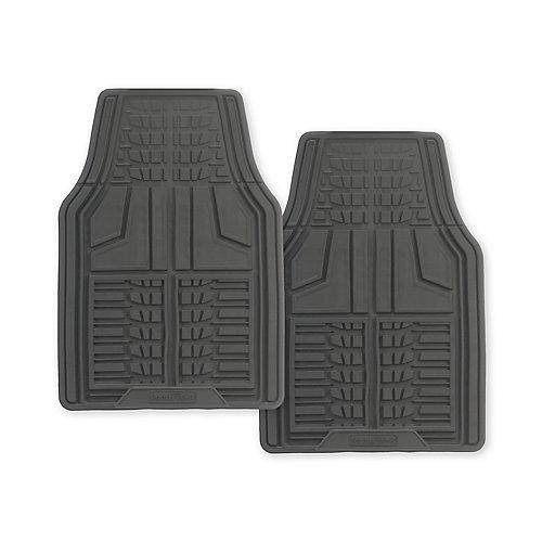 Premium 2-Piece Rubber Car Mat - Grey