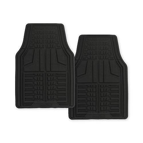 Premium 2-Piece Rubber Car Mat - Black
