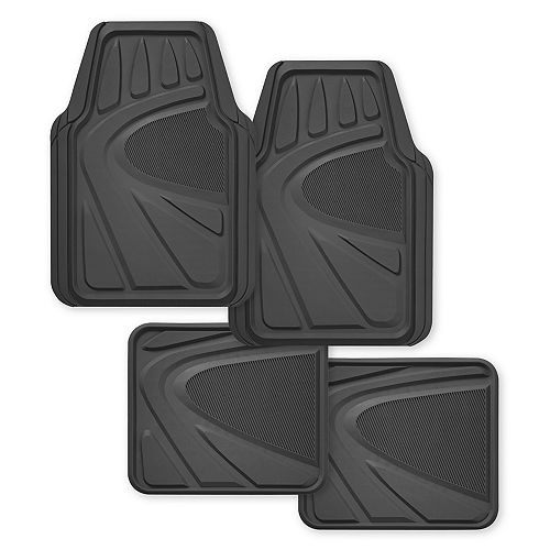 Premium 4-Piece Heavy Duty Rubber Car Mat - Grey