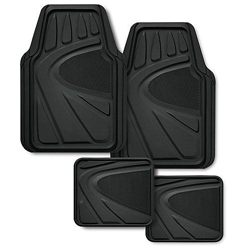 tapis d'auto caoutchouc premium, 4 pces - noir