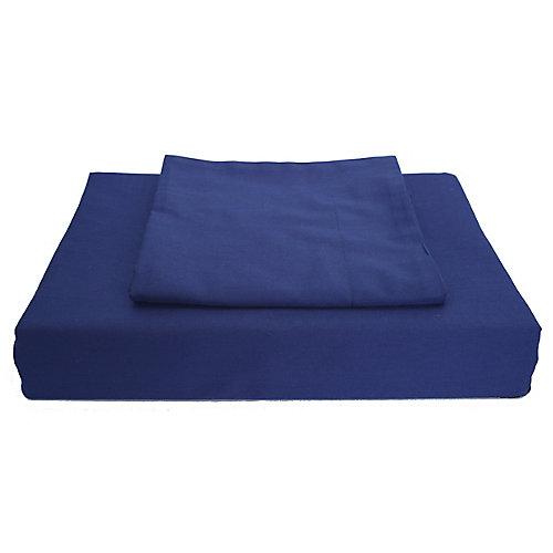 250 fils au pouce, Solide - Ensemble de housse de couette, Bleu marin, très grand lit