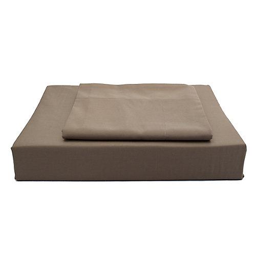 250TC Solid Duvet Cover Set, Chocolate, Double