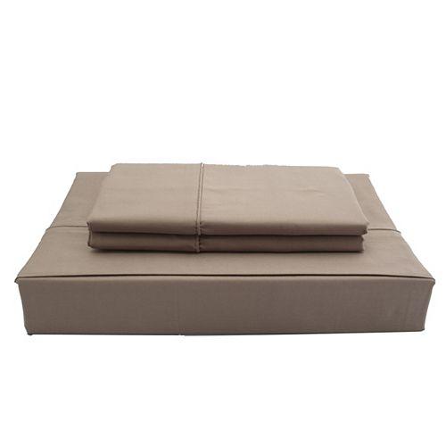 Maholi 250 fils au pouce, Solide - Ensemble de draps, Chocolat, très grand lit