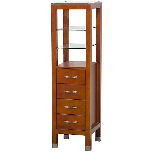 Tavello 16-1/4 In. W x 16 In. D x 59-3/4 In. H Linen Tower in Cherry