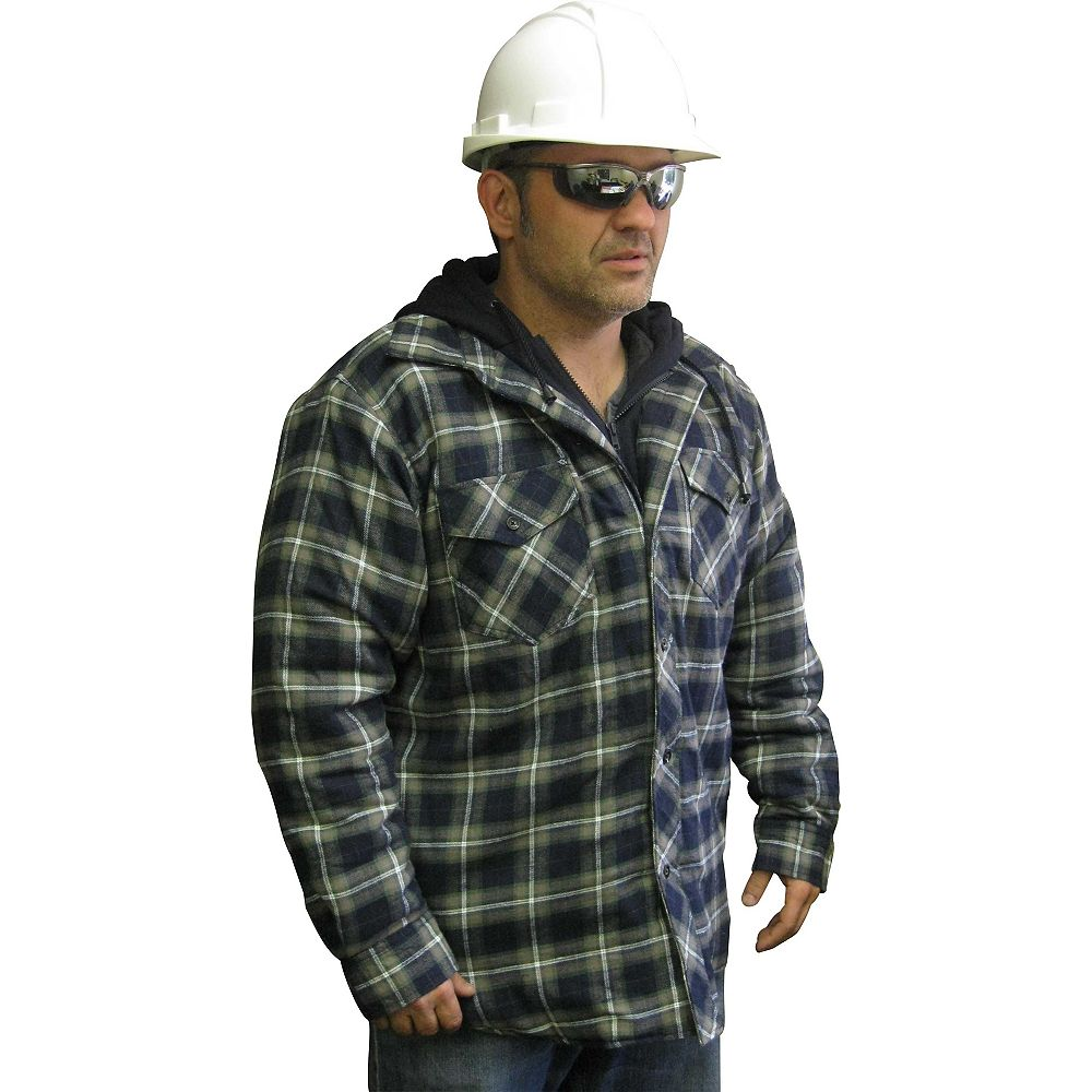 Storm Fighter Hooded Quilted Plaid Shirt Xlarge