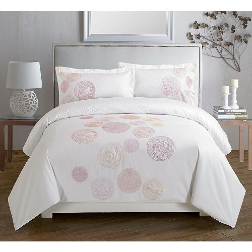 Spiral Red Embroidered Duvet Cover Set, King