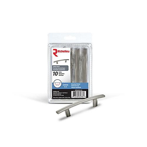 Pack-10 poignées transitionnelles en métal 3 in (76 mm) CtoC - Nickel brossé - Padova Collection