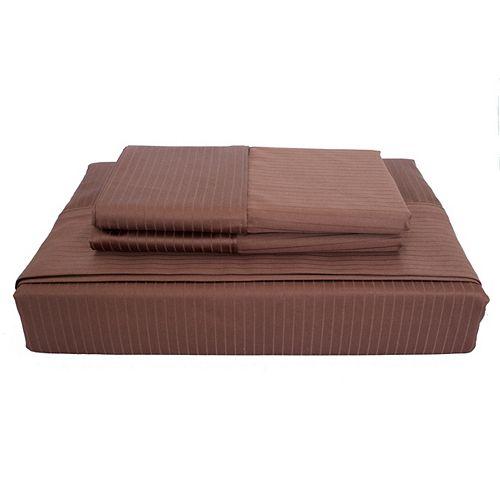 Maholi 600 FP Tuxedo Stripe - Ensemble de draps, Cacao, lit 2 places.