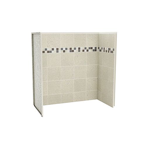 Kit de mur de douche en pierre de 60 pouces x 30 pouces x 60 pouces pour baignoire Sahara (kit de 3 panneaux)
