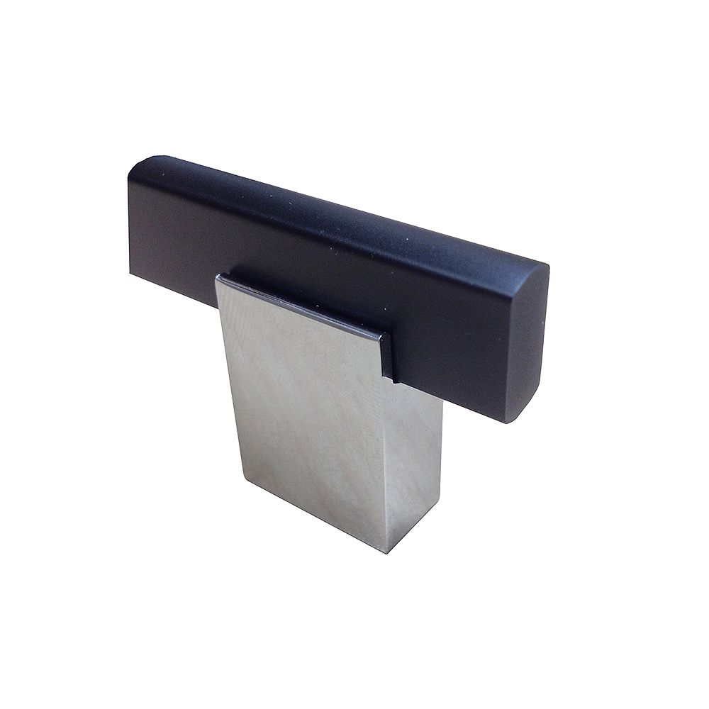 Richelieu Madison Collection 1 9/16 in (40 mm) x 13/32 in (10.5 mm) Matte Black, Chrome Contemporary Cabinet Knob
