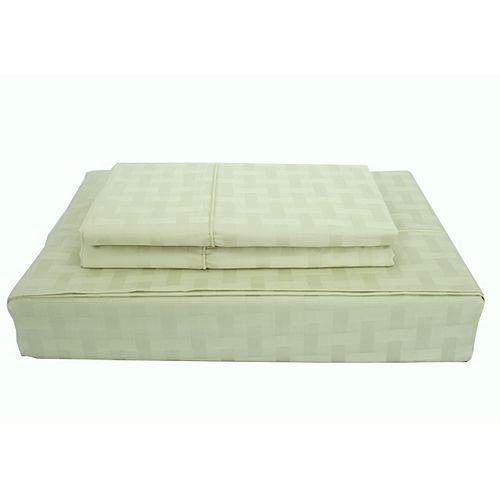 Bamboo Cotton -Ensemble de draps, céleri, grand lit